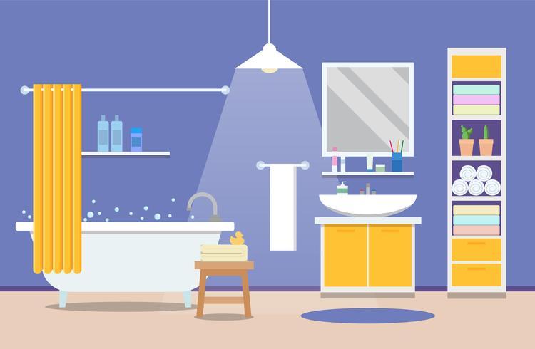 Bagno interni moderni - una vasca da bagno con lavabo, design di appartamenti. Illustrazione vettoriale in stile piatto.