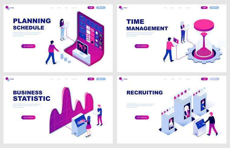 Set di modello di pagina di destinazione isometrica per pianificazione, gestione del tempo, statistica, reclutamento. I concetti isometrici dell'illustrazione moderna di vettore hanno decorato il carattere della gente per lo sviluppo del sito Web.