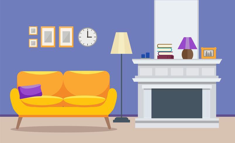 Sala de estar interior moderno - un sofá con chimenea, diseño de apartamento. Ilustración del vector en estilo plano.
