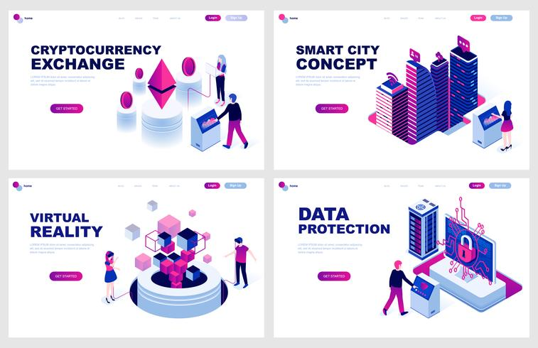 Set of isometric landing page template for Cryptocurrency, Smart City, Virtual Reality, Protection. Modern vector illustration isometric concepts decorated people character for website development.