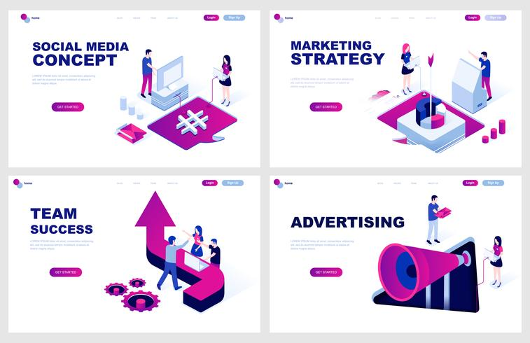 Set of isometric landing page template for Social Media, Dagital Marketing, Advertising, Team Success. Modern vector illustration isometric concepts decorated people character for website development.