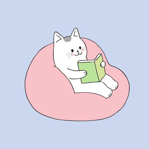 Lectura linda del gato de la historieta en vector del sofá.