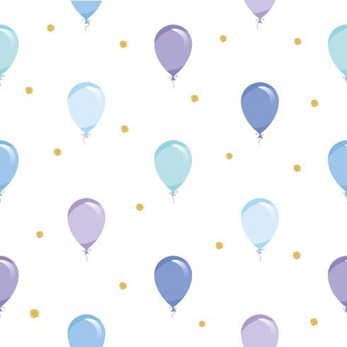 Fondo senza cuciture festivo con palloncini e coriandoli glitter oro. Per vacanze, compleanno, baby shower design.