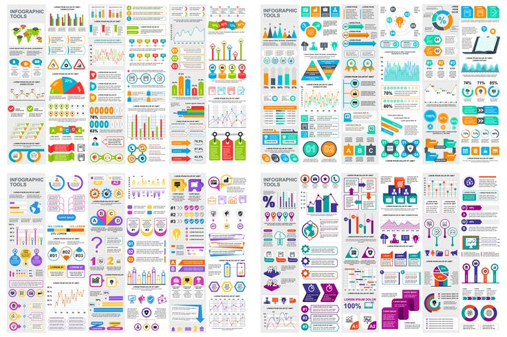Set of infographic elements data visualization vector design template. Can be used for steps, options, business process, workflow, diagram, flowchart concept, timeline, marketing icons, info graphics.