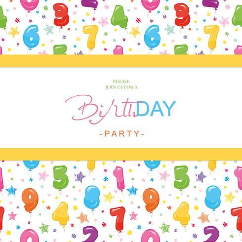 Carta di invito festa di compleanno per bambini. Incluso seamless con numeri di palloncini colorati lucidi.