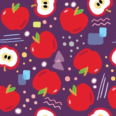 Vettore senza cuciture del modello delle mele rosse sveglie.