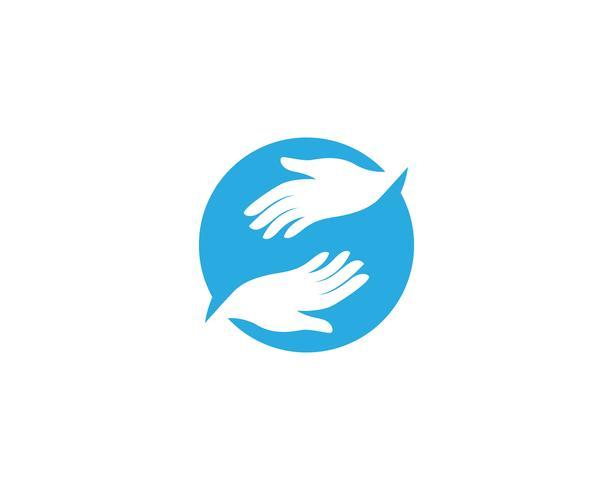 Mano cuidado logo y símbolo vector