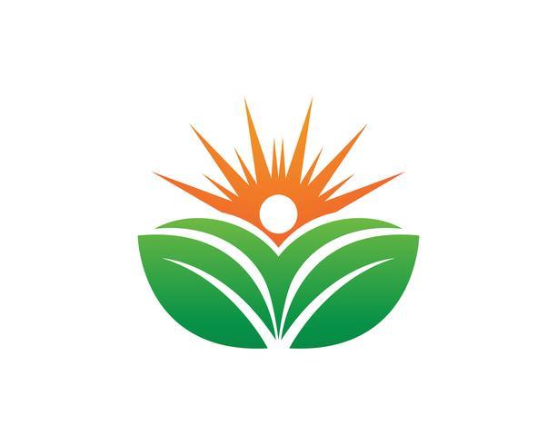As pessoas se importam e sol logotipo de vetor de terapia de natureza