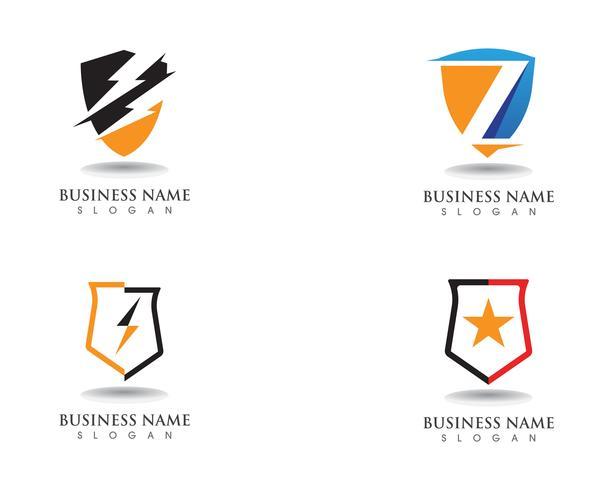 Scudo di protezione scudo logo design vettoriale