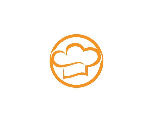 Logotipo de chef de chapéu e modelo de vetor de símbolos