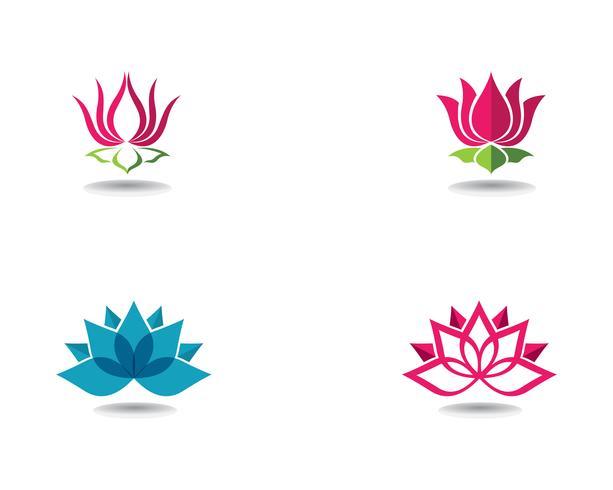 Belleza Vector Lotus flores diseño logo plantilla iconos