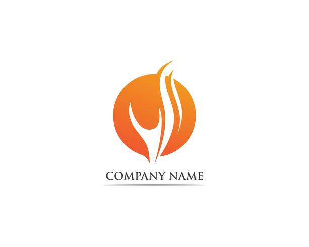 Fire logo vector template hot