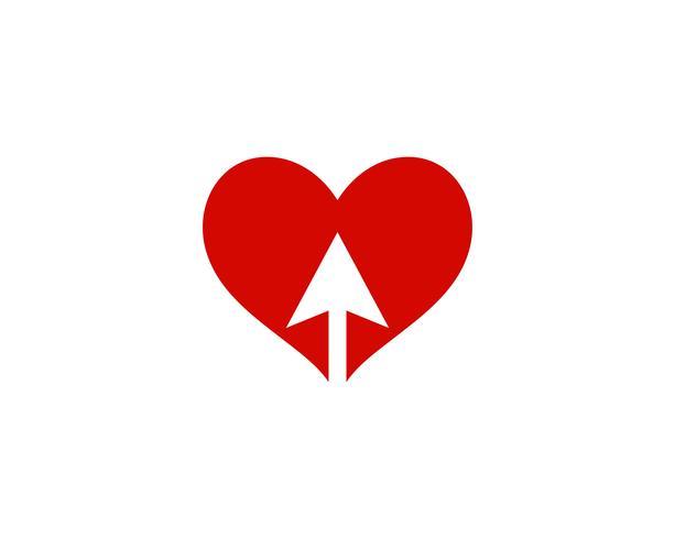 Amo o logotipo do coração e o vetor de símbolo