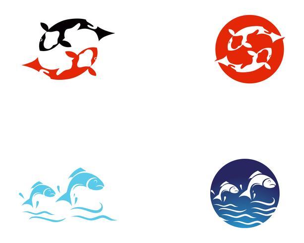 Koi fish logo and symbols vector template icons