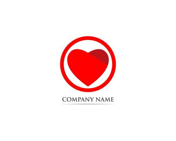 Amor logo rojo y símbolo vector