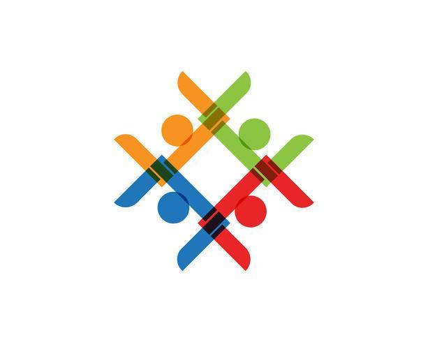 Gemeenschap, netwerk en sociale pictogram ontwerpsjabloon.