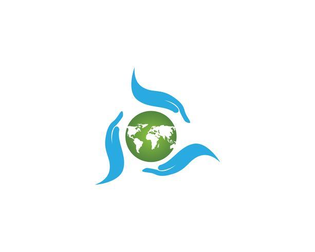 Mundo e mão logotipo verde global