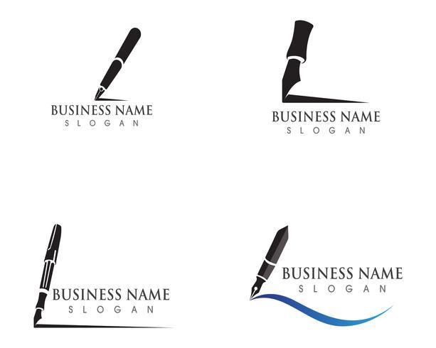 affari dell'illustrazione di vettore del modello di logo della penna