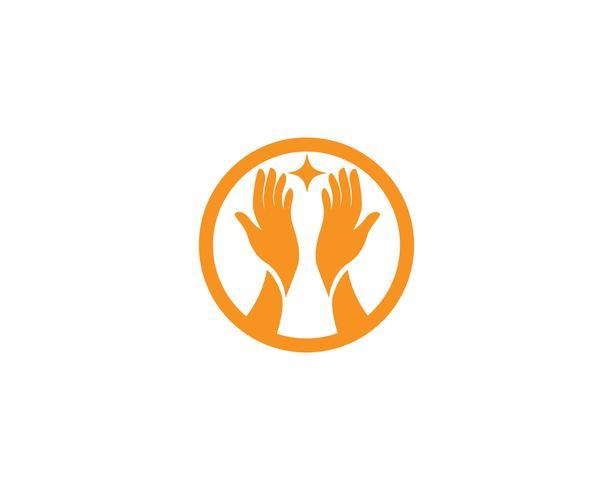 Vettore di simbolo e di logo di cura della mano