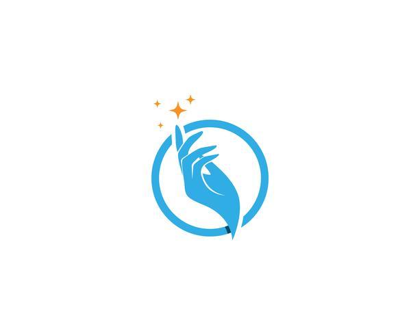 Logotipo de cuidados de mão e vetor de símbolo