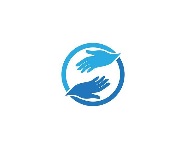 Hand zorg logo en symbool vector
