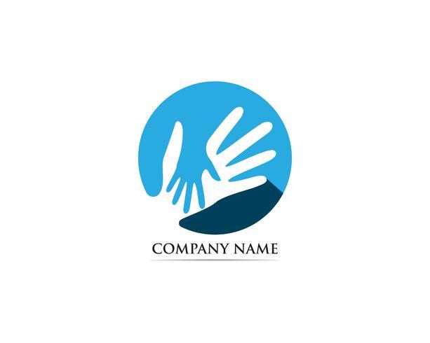 Hand zorg adoptie logo vector