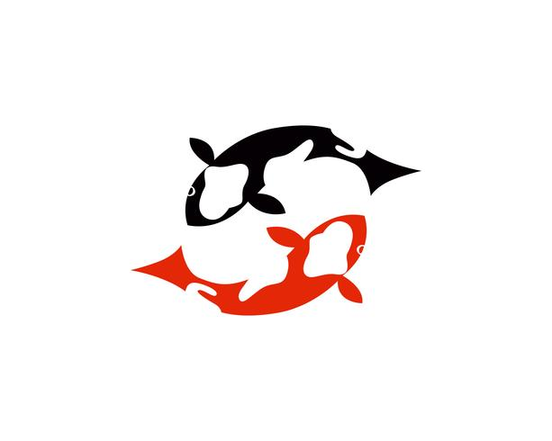 Koi vis logo en symbolen vector sjabloon pictogrammen