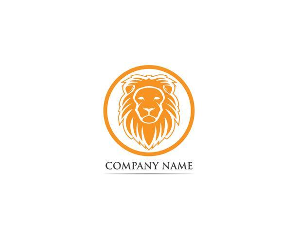 Logotipo de mascote de cabeça de leão e simbolo vector