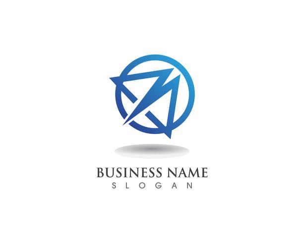 Logotipo de M e vetor de negócios de símbolos