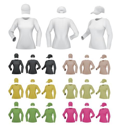 Plantilla femenina llana de la camisa de manga larga en el fondo blanco.