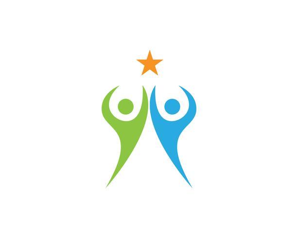 Logotipo e símbolos do grupo de pessoas da comunidade de estrelas