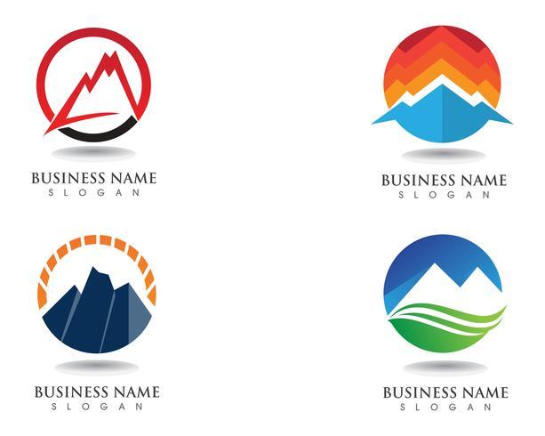 Logo y simbolos de montaña vector