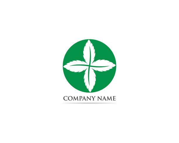 Menta foglia logo e simbolo vettoriale