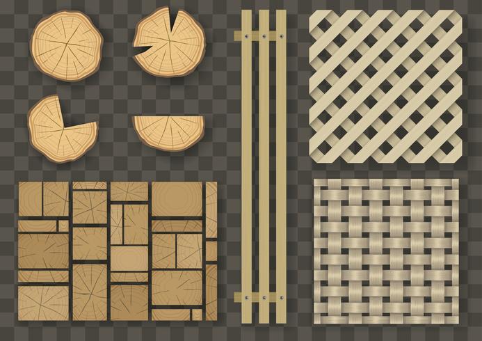 uppsättning olika trästrukturer