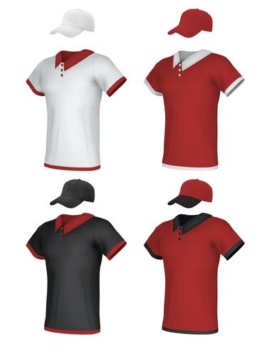 Set di modelli maschili in bianco e polo uniforme. vettore