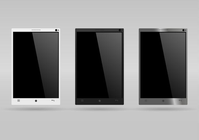 Set van drie moderne smartphones