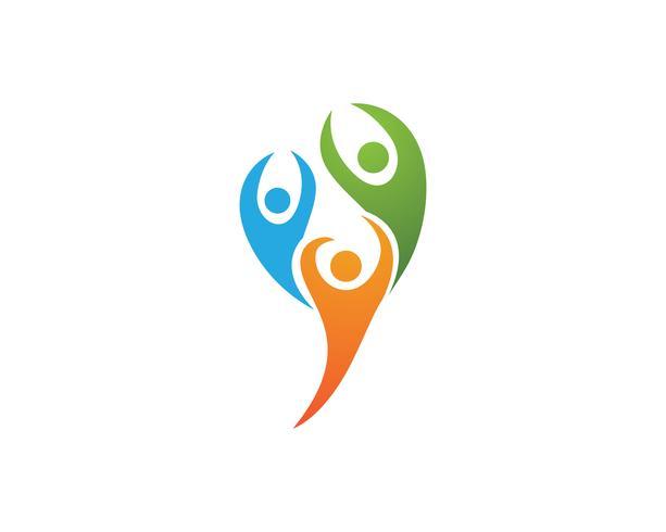 Logotipo de pessoas de sucesso de liderança e símbolo