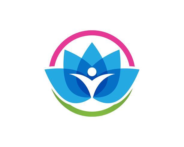 Logotipo de pessoas de lótus e símbolos