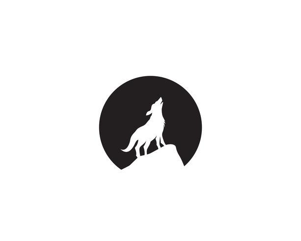 Wolf natt svart logotyp och symbol vektor