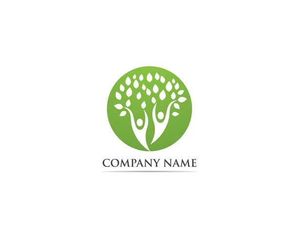 Modèle de vecteur d'arbre famille personnes logo