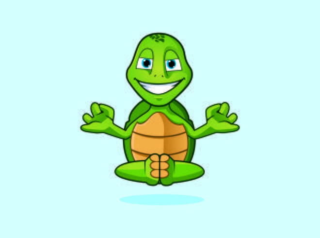 zen yoga schildpad monnik karakter logo mascotte ontwerpen