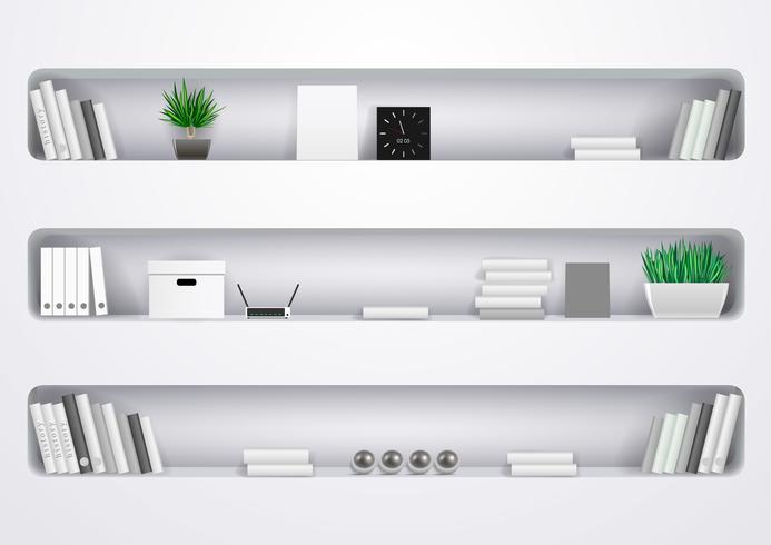 Prateleiras de escritório brancas ou sala de estar