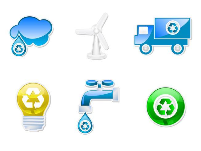 Conjunto de ícones recicláveis