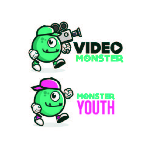 Diseños lindos del logotipo de la mascota del personaje del monstruo
