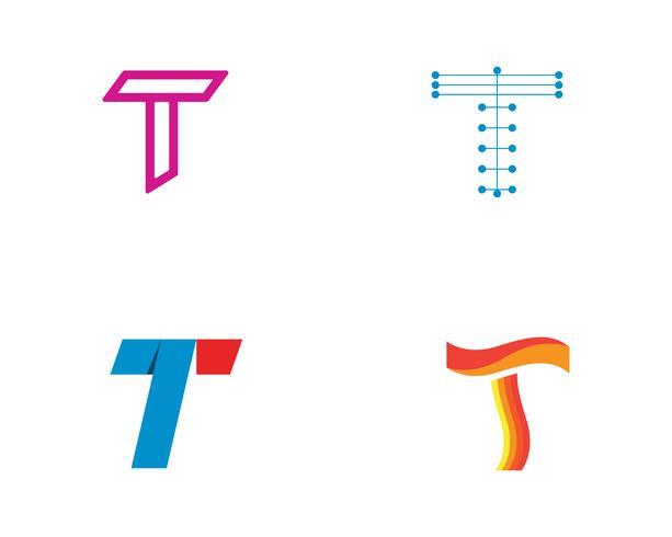 T lettres logo et symboles modèle app icônes