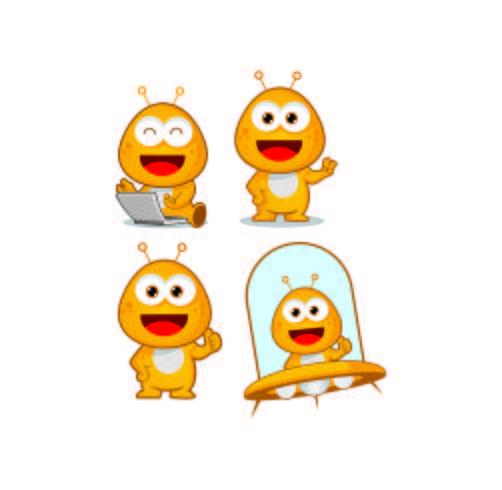 diseños de logotipo de mascota de dibujos animados lindo personaje alienígena vector