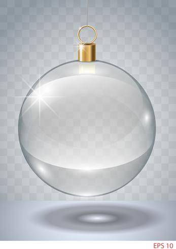 Bauble Natal de vidro transparente