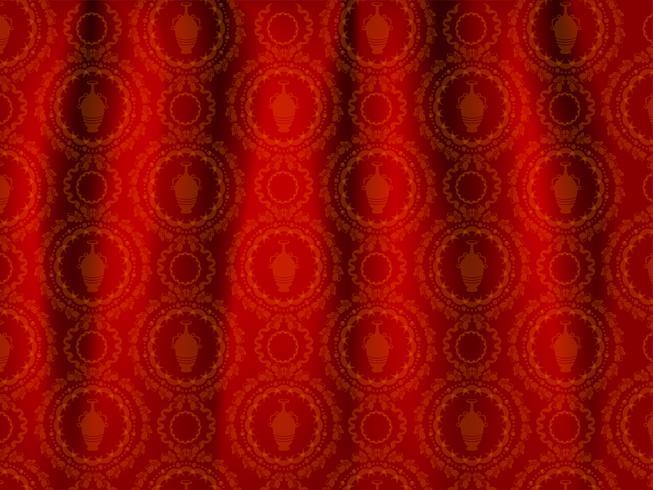 Papier peint ornement rouge et or