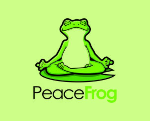 Logotipo de yoga de la mascota del personaje de la rana Zen vector