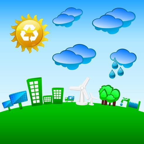 Planète verte, énergie éolienne et solaire